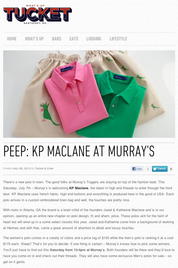 KP MACLANE AT MURRAY'S