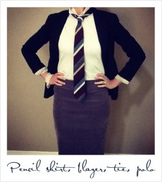 Women's Polo with Blazer and Tie