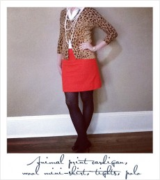 Women's Polo with Leopard Cardigan
