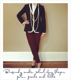 Women's Polo with Blazer and Red Cigarette Pant