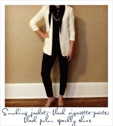Women's Polo with White Blazer and Scarf
